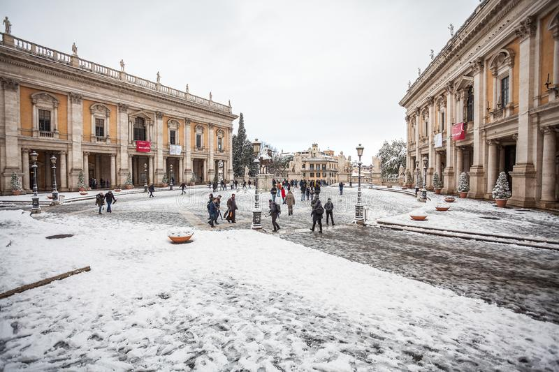 A lovely day of snow in Rome, Italy, 26th February 2018: a beautiful view of Capitoline Square under the snow stock photography