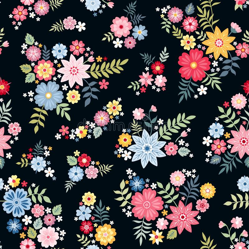 Lovely ditsy floral pattern with cute abstract flowers in vector. Seamless natural background. Print for fabric, gift wrapper royalty free illustration