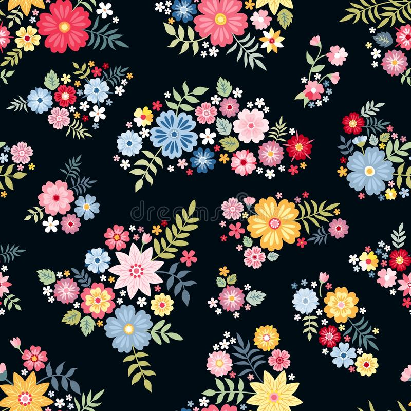 Lovely ditsy floral pattern with cute abstract flowers in vector. Seamless background with colorful bouquets. Vector illustration. royalty free illustration