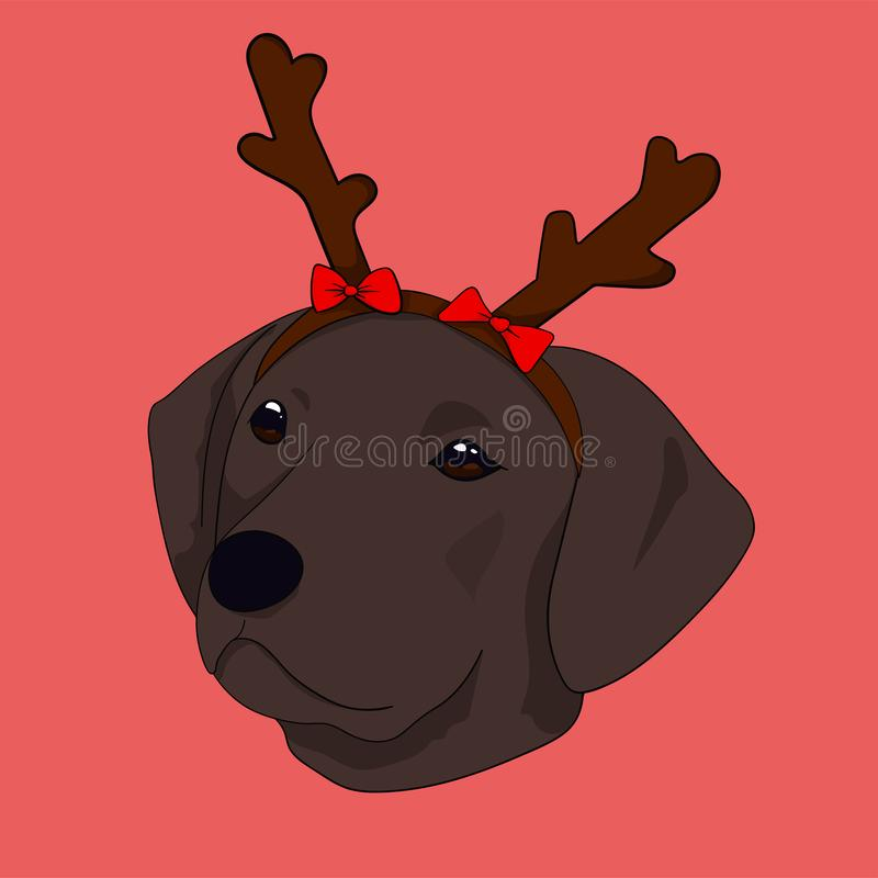 Happy Christmas with reindeer dog vector illustration
