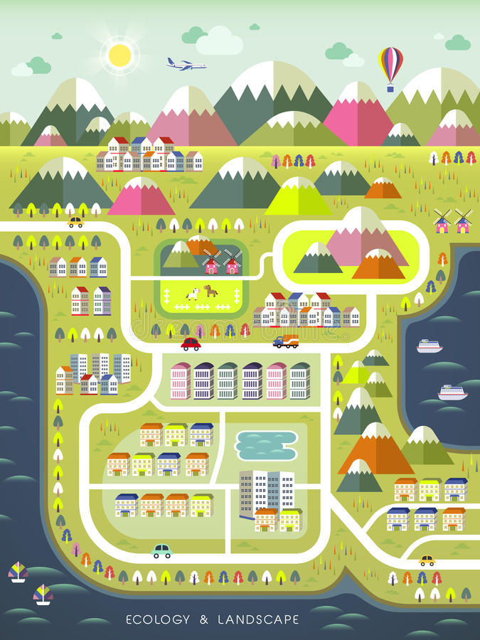 Lovely ecology concept flat design. In colorful style stock illustration