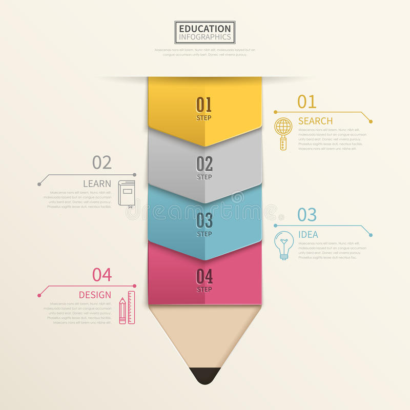 Lovely education infographic design. With colorful pencil elements royalty free illustration