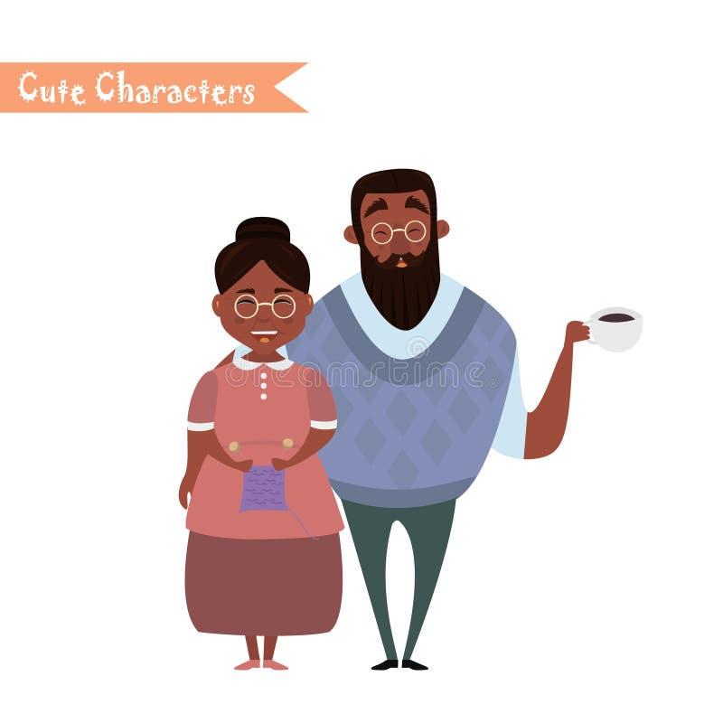 Lovely elderly couple stock illustration