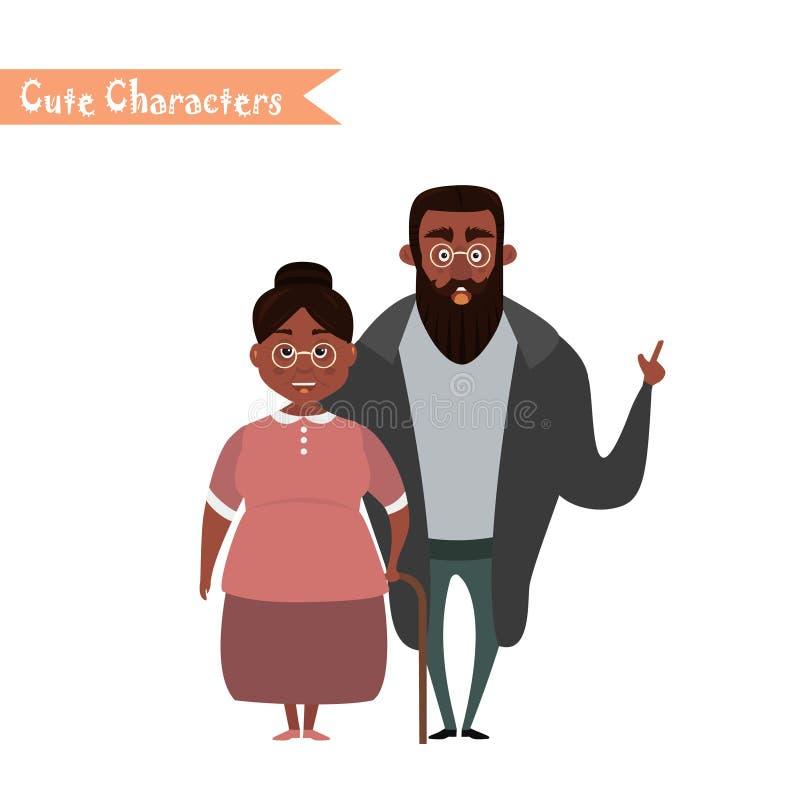 Lovely elderly couple vector illustration