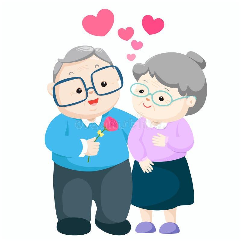 Lovely elderly couple vector. Grandpa giving flower to grandma illustration vector illustration