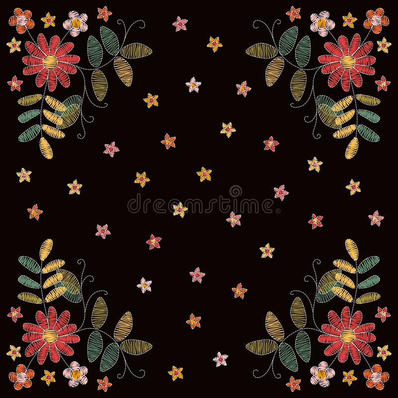 Lovely embroidery with flowers and leaves. Fashion design for card, bandana print royalty free illustration