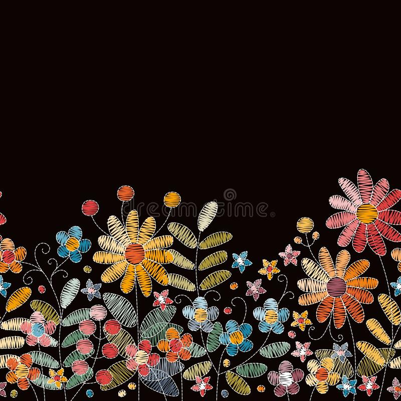 Lovely embroidery flowers. Seamless embroidered border with herbs, berries and wildflowers stock illustration