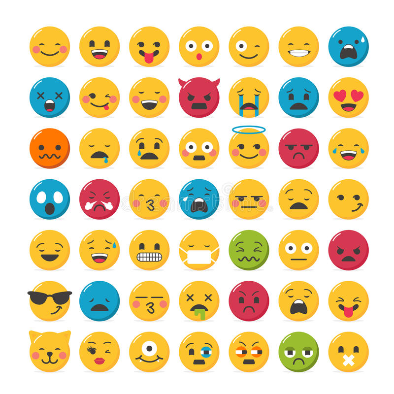 Lovely emoticons design. Set with 49 different expressions royalty free illustration