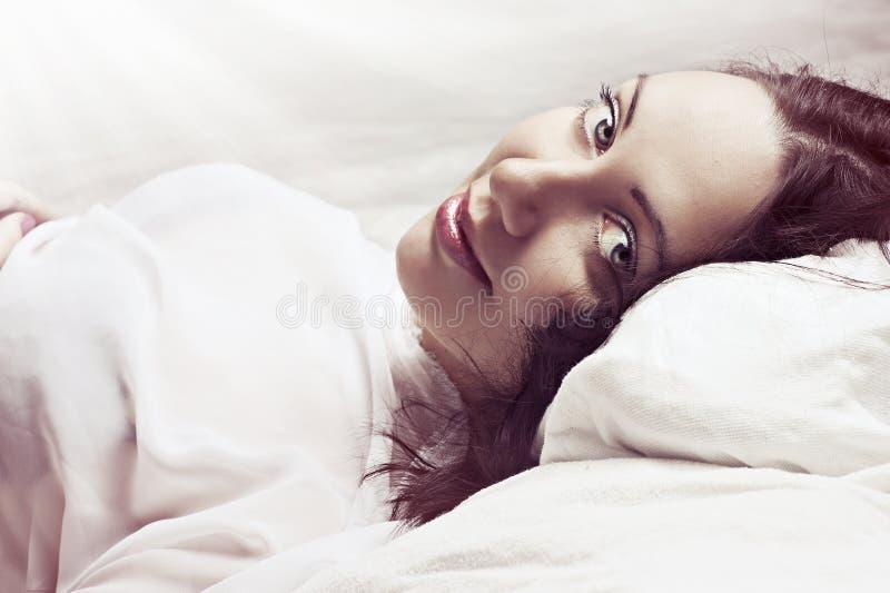 Lovely face of female model stock photography