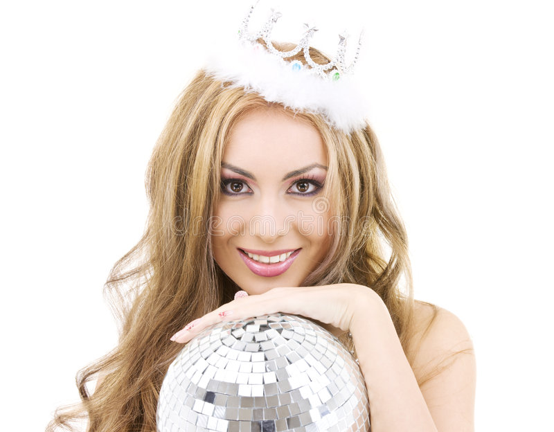 Lovely fairy in crown with disco ball stock photography