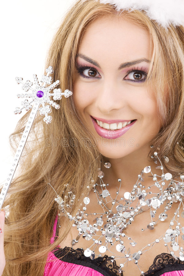 Download Lovely Fairy In Crown With Magic Wand Stock Image - Image: 6481955