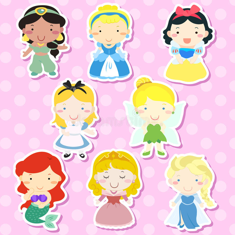 Lovely fairy tale characters set. Over pink background stock illustration