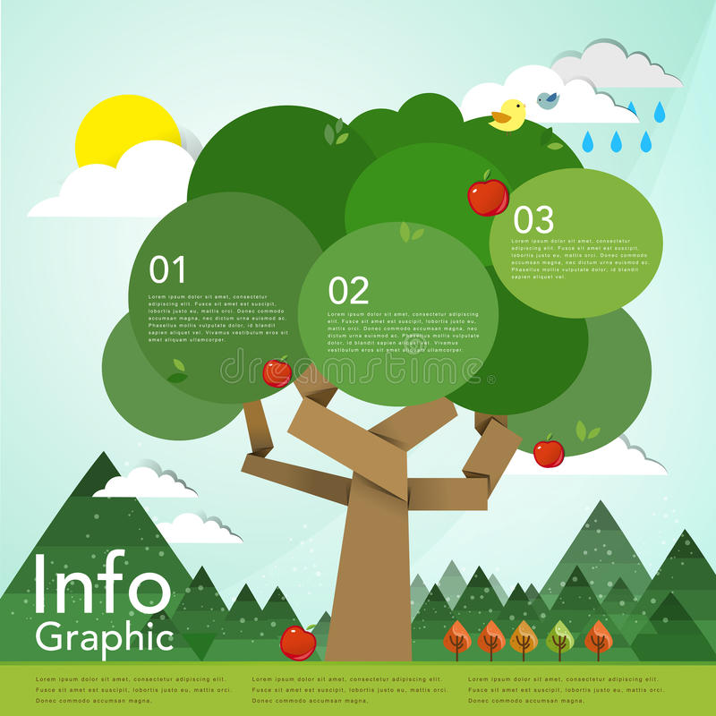 Lovely flat design infographic with tree element royalty free illustration