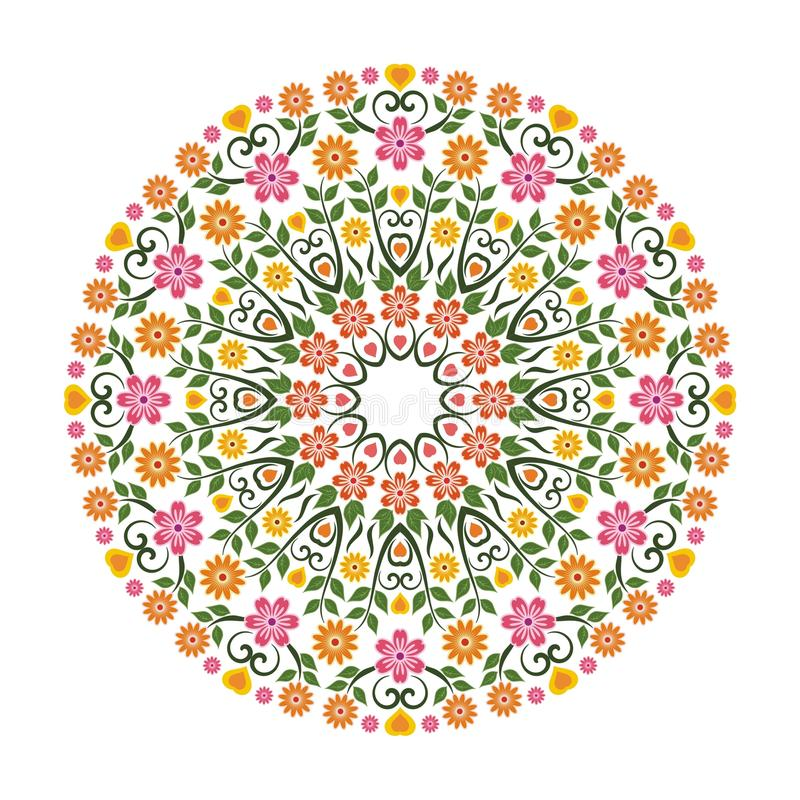 Lovely Flower - Floral Ornament witn Circle Design. Suitable for wedding or party invitation, greeting card, Embroidered cloth and other stock illustration