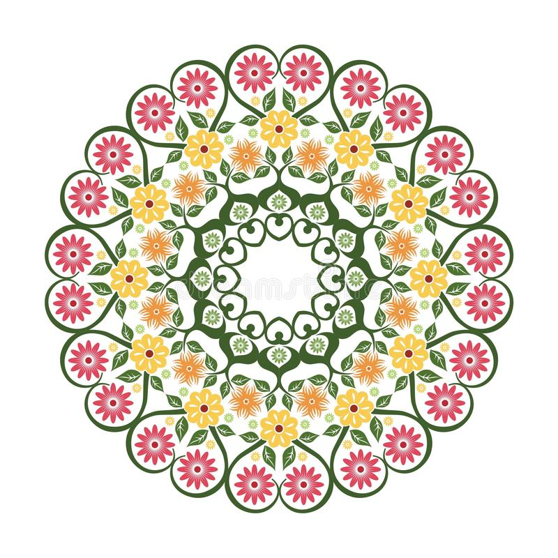 Lovely Flower - Floral Ornament witn Circle Design. Suitable for wedding or party invitation, greeting card, Embroidered cloth and other royalty free illustration