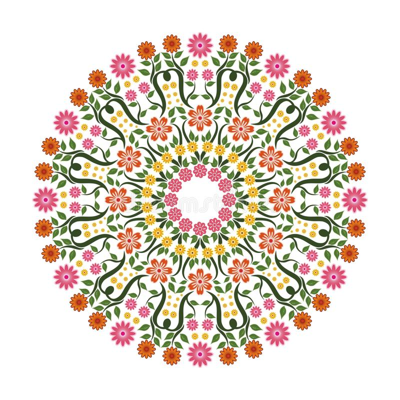 Lovely Flower - Floral Ornament witn Circle Design. Suitable for wedding or party invitation, greeting card, Embroidered cloth and other vector illustration