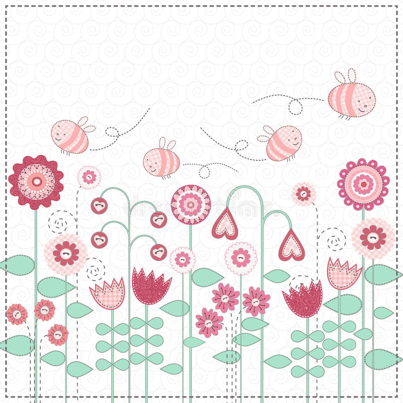 Lovely flowers and the cute bees. Cute bees are flying over flower meadow royalty free illustration