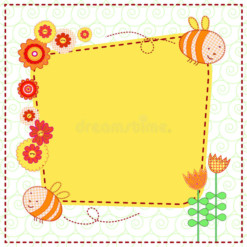 Lovely Flowers And The Cute Bees Stock Image