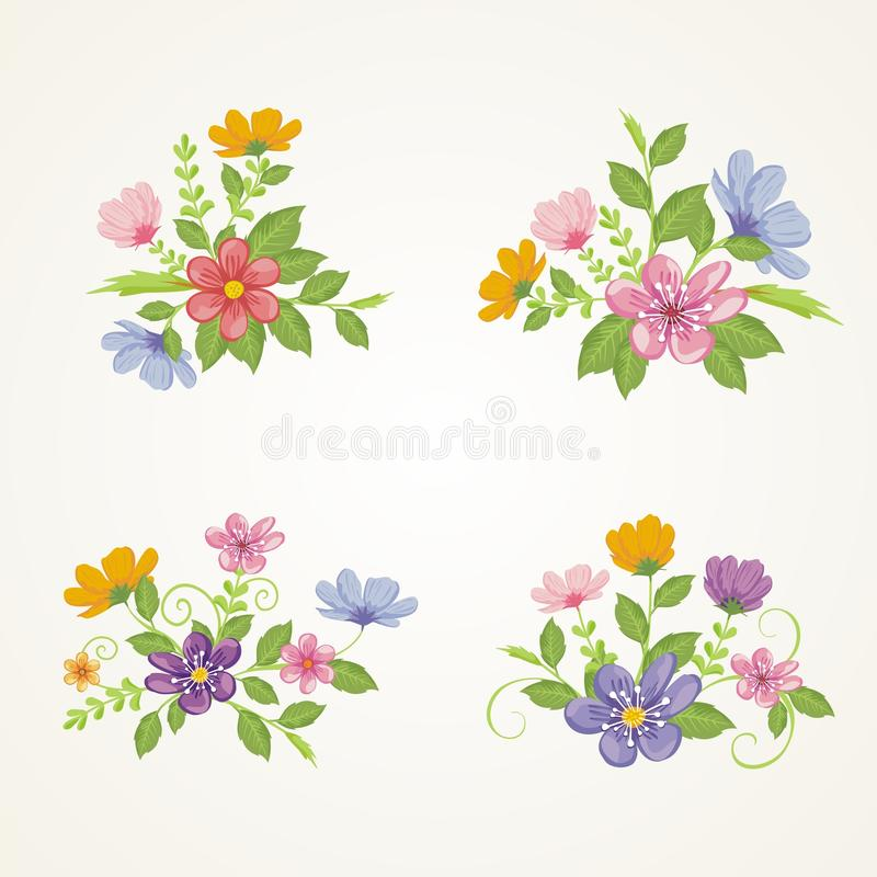Lovely Flowers - Floral Wreath Design. Lovely Flowers Wreath Design, suitable for for weddings, Valentines day, birthdays, menu, holidays, baby shower, mothers royalty free illustration