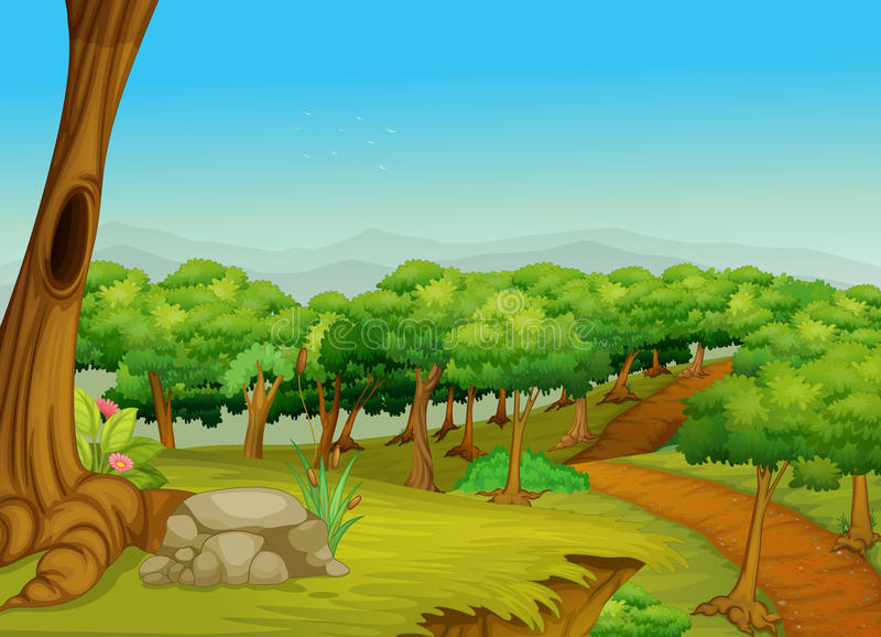 Lovely forest path stock illustration