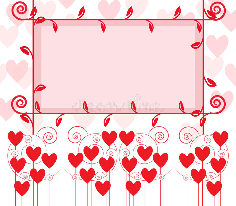 Lovely frame. Lovely picture or text frame in red and soft pink with ornaments royalty free illustration