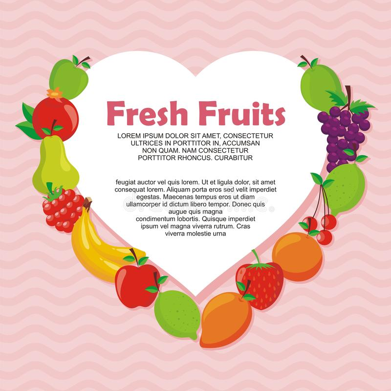 Lovely Fresh fruits background vector design. With space for text and your image, simple, cute, and adorable illustration and design, suitable for banner stock illustration
