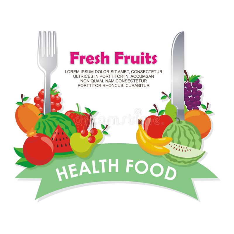 Lovely Fresh fruits background vector design. With space for text and your image, simple, cute, and adorable illustration and design, suitable for banner royalty free illustration