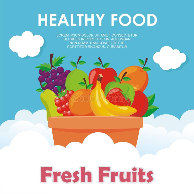 Lovely Fresh fruits background vector design. With space for text and your image, simple, cute, and adorable illustration and design, suitable for banner vector illustration