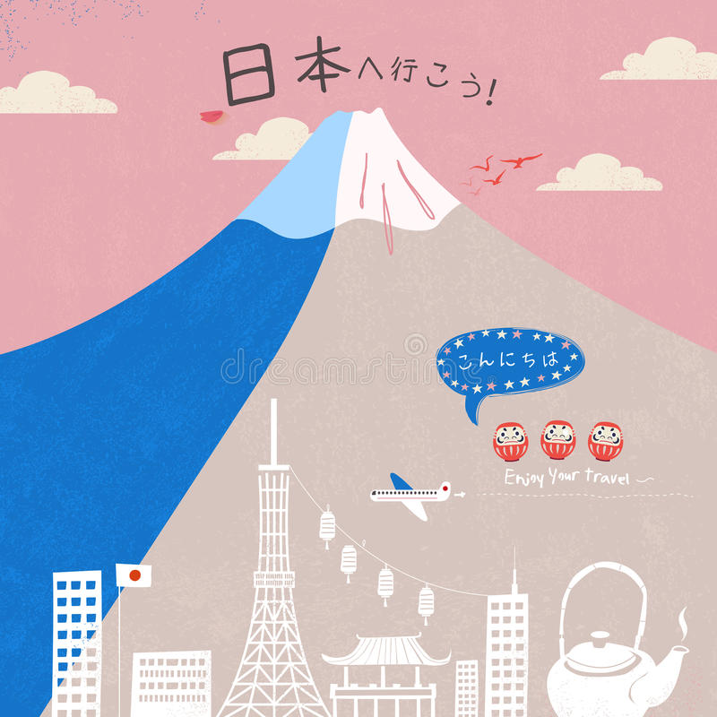 Lovely fuji mountain poster. Let's go to Japan and Hello in Japanese vector illustration