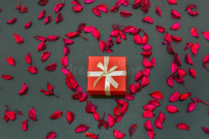Lovely Valentines Day Gift for the love of life in the centre of heart shaped rose petals stock image