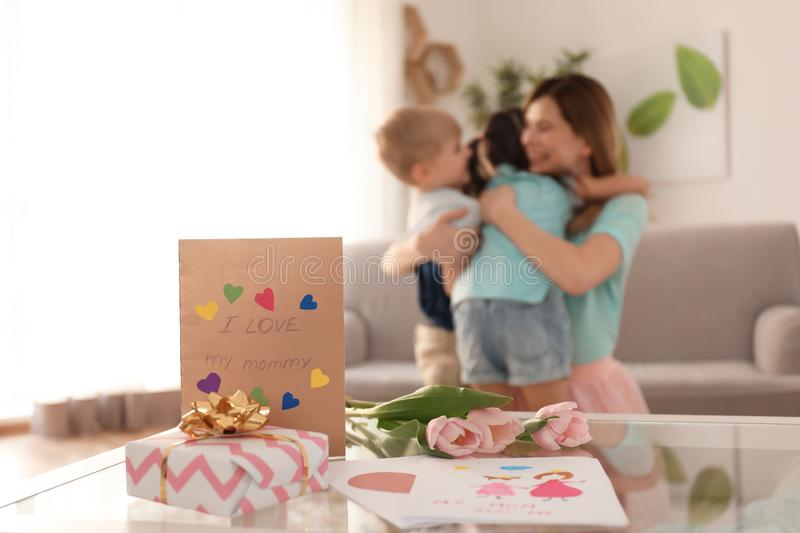 Lovely gifts from cute little children for their mother on table royalty free stock images