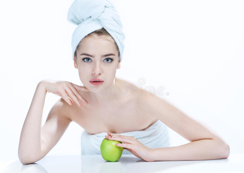 Lovely girl with apple, natural organic raw fresh food concept stock image