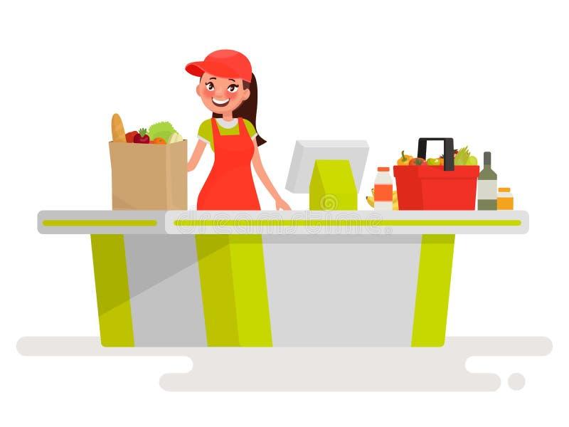Cashier Cartoons: Lovely Girl Cashier At The Cash Register Supermarket