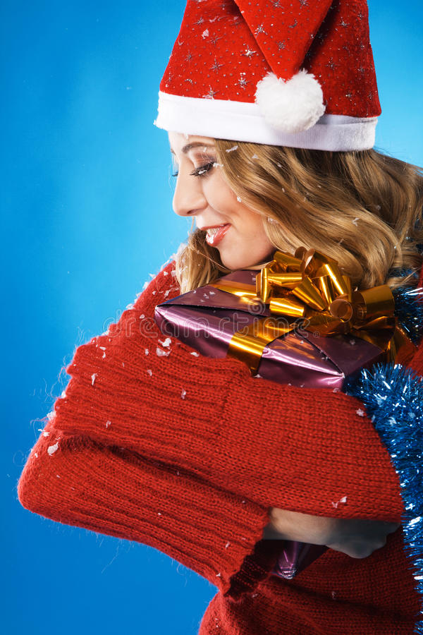 Download Lovely Girl With Christmas Gift Stock Photo - Image: 16802834