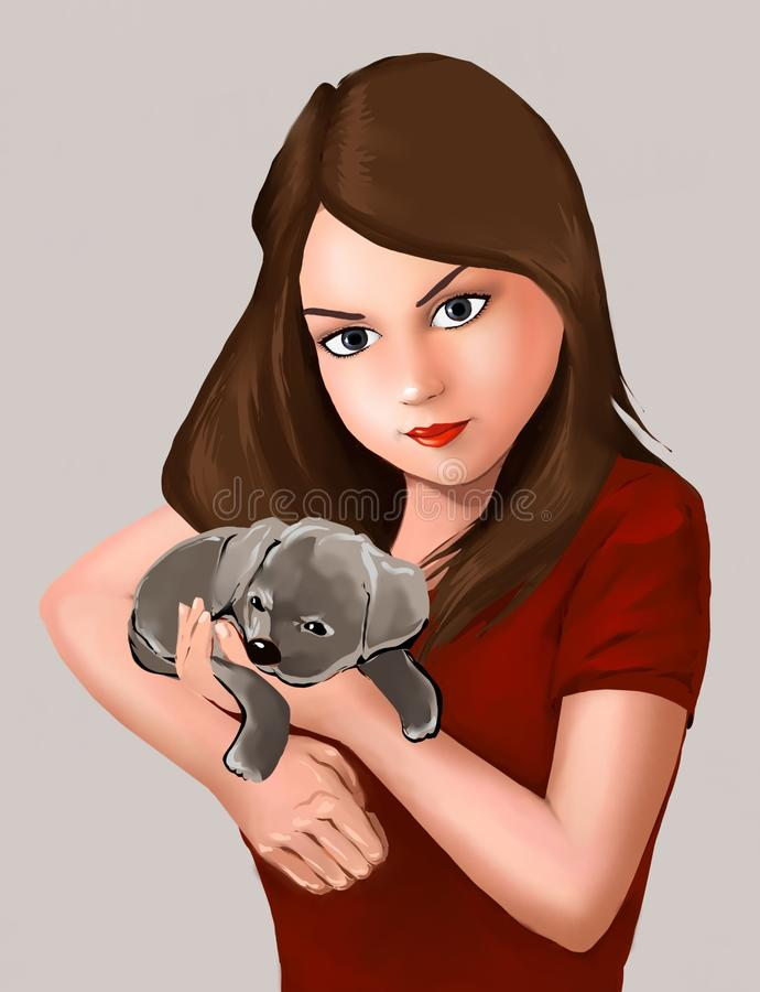 lovely girl and cute puppy doggie, dog, animal, pet owner, beautiful girl, cute, puppy dog, cute friends, love of animals royalty free illustration