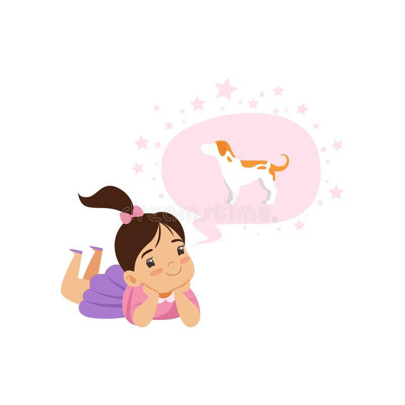 Lovely girl dreaming of a dog, kids imagination and fantasy concept, vector Illustration on a white background royalty free illustration