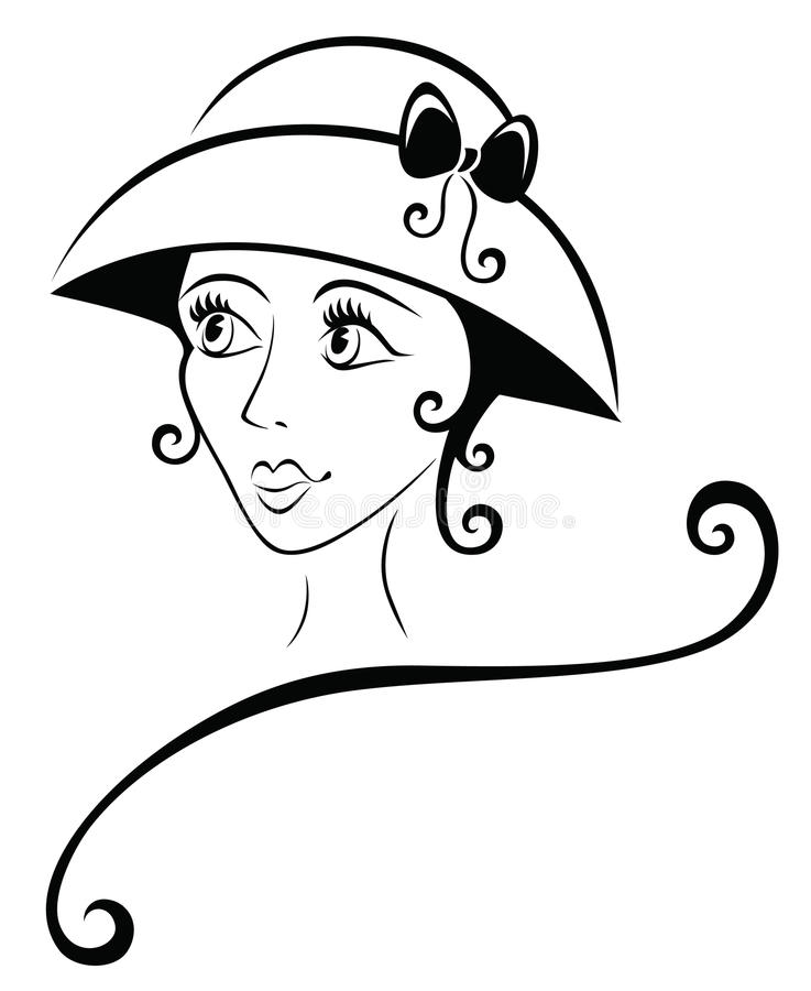 Lovely Girl in a Hat vector illustration
