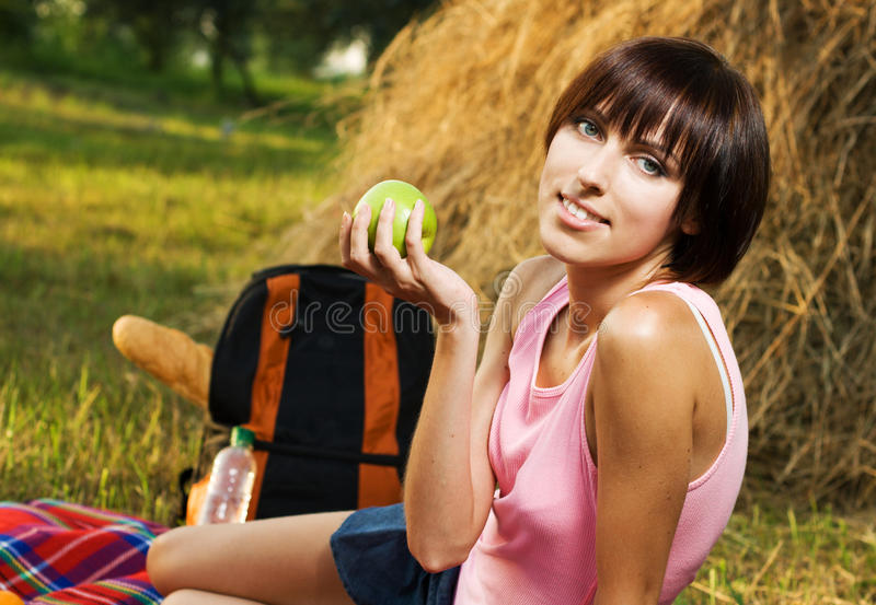 Lovely Girl Having A Rest On Picnic Royalty Free Stock Photo