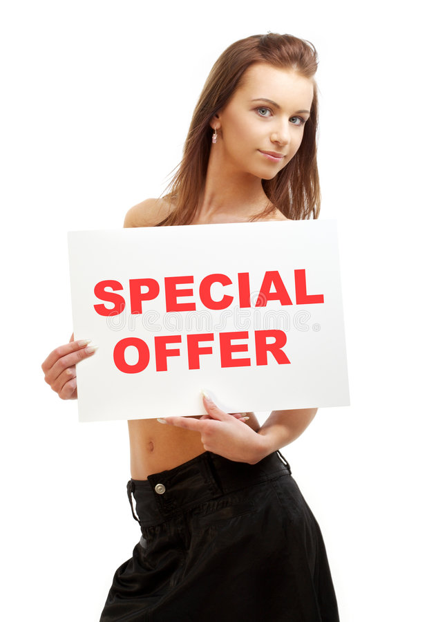 Lovely girl holding special offer board stock photo