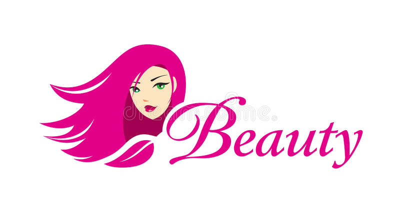 Lovely girl logo template. Beautiful young girl with long hair. High quality logo template for makeup business