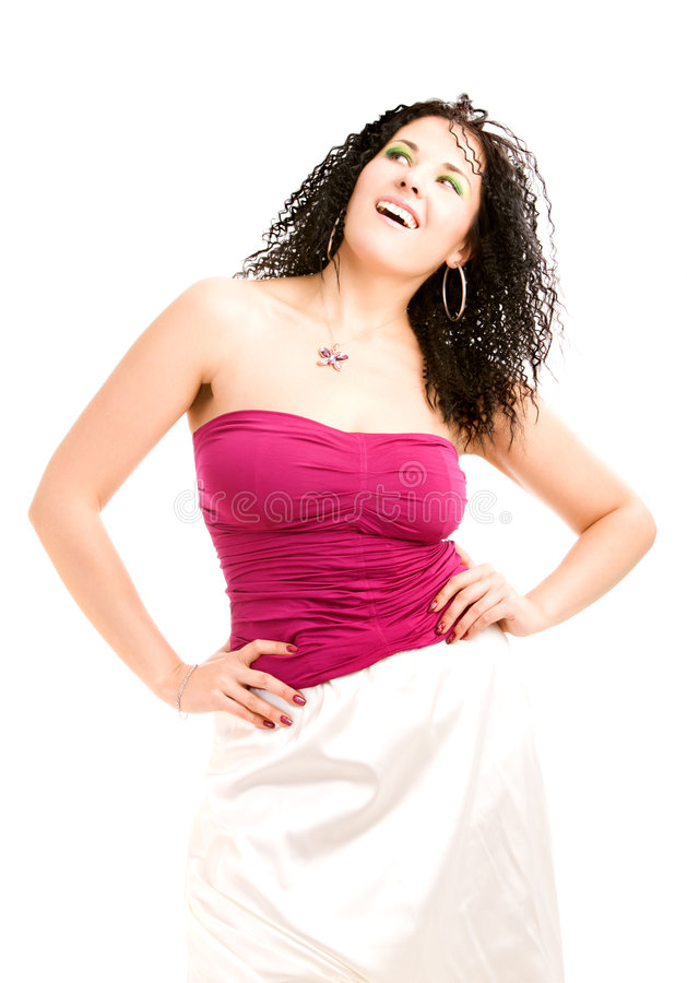 Download Lovely girl in magenta top stock photo. Image of positive - 7080462