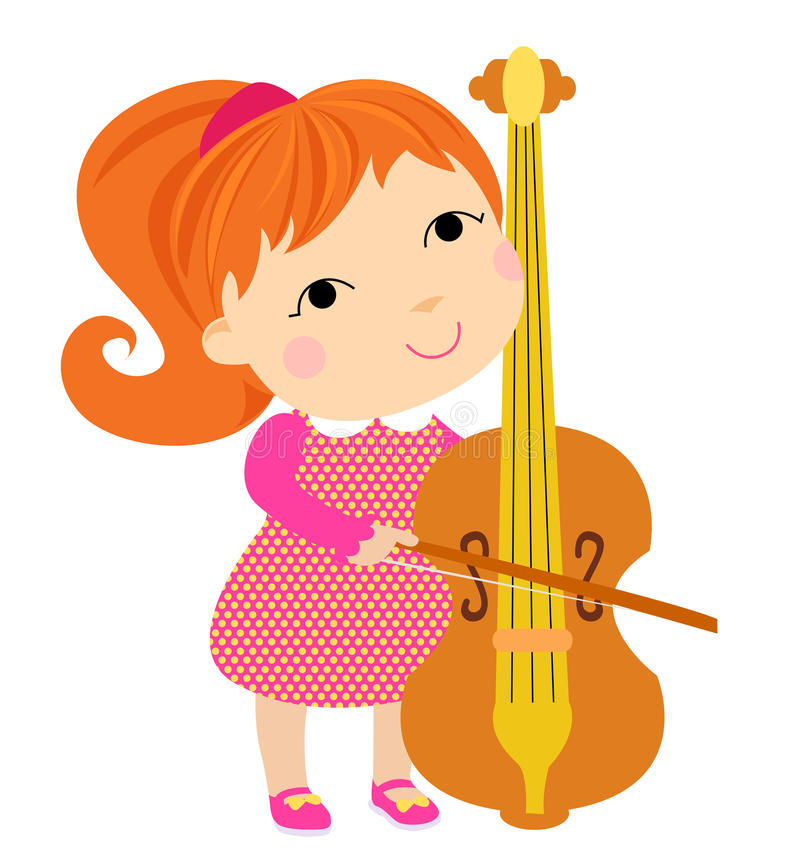 Lovely girl playing cello vector illustration