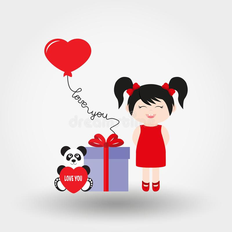 Lovely girl. Valentine S Day. Icon. Vector. Flat. vector illustration