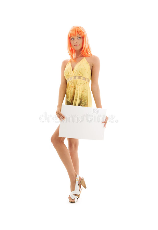 Free Lovely Girl With Blank Sign Board Stock Photos - 8619543