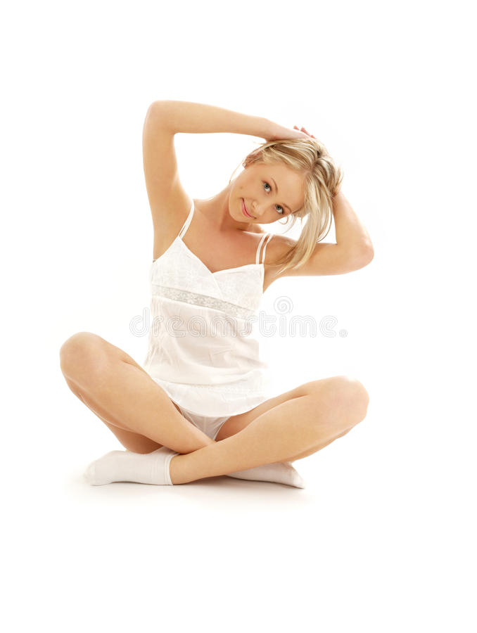 Lovely girl working out over white stock photo