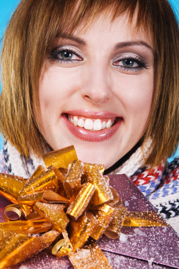 Lovely Girl With Xmas Gift Stock Photos