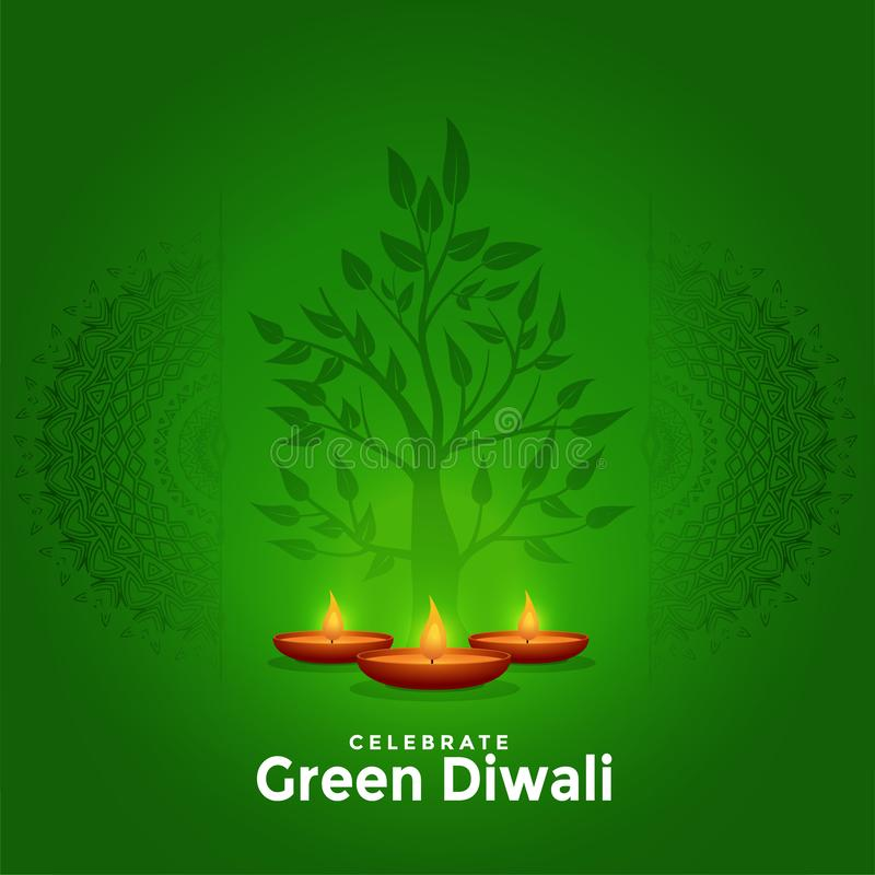 Lovely green happy diwali creative greeting background design. Vector stock illustration