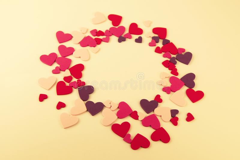 A group of different sizes felt hearts stock images