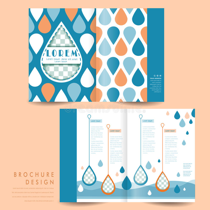 Lovely half-fold template design. With water drop elements vector illustration