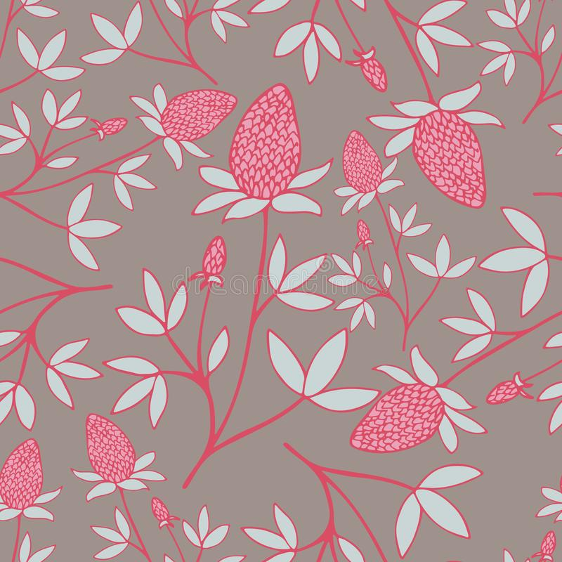 Lovely hand-drawn flower seamless pattern in pink-blue colors. Lovely hand-drawn flower seamless pattern in pink-blue colors on the grey background royalty free illustration